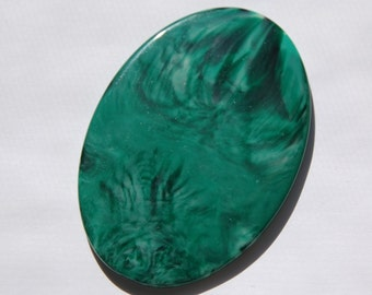 Vintage Green and Black Swirled Cabochon Plaque 70mm x 48mm cab471A