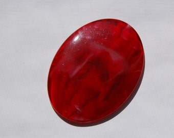 Vintage Red and White Swirled Cabochon or Plaque 58mm x 43mm cab472