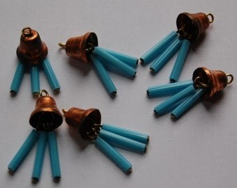 Vintage Copper Bell Charms with Turquoise Blue Glass Drops chr167