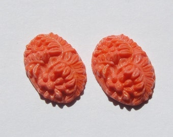 Vintage Coral Pressed Glass Floral Cabochon 18mm x 13mm cab138A