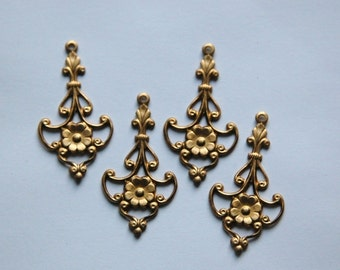 Raw Brass Flower Chandelier Stampings Drops (4) mtl190