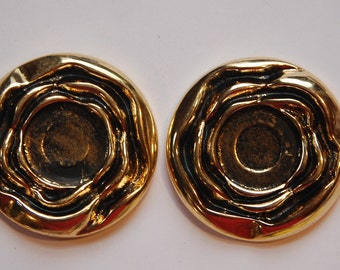 Vintage Antiqued Gold Plated Acrylic Setting 18mm stp012E