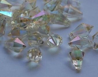 Vintage West German Acrylic AB Faceted Prism Drops bds796