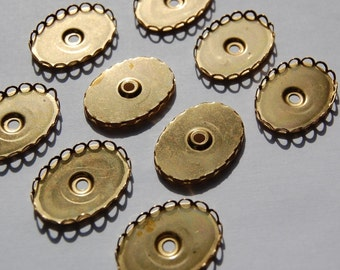 Vintage Brass Lace Filigree Edged 25mm x 18mm Settings (6) stn004E2