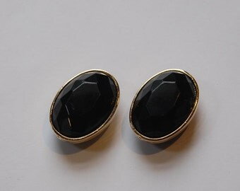 Black Faceted Lucite Gold Channel Set Oval Beads Japan bds993D