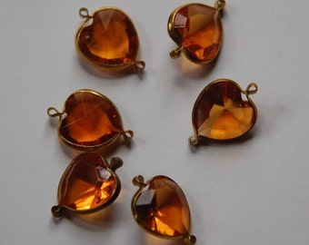 Brass Channel Set Faceted Topaz Heart Acrylic Charms chr166B