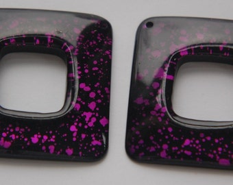 Vintage Retro Purple and Black Acrylic Square Pendant Hoops (2) pnd107C