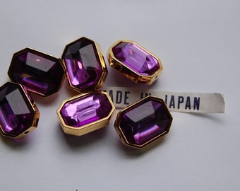 Purple Amethyst Faceted Lucite Channel Set Beads Japan bds990B