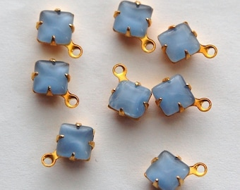 Blue Moonglow Square Glass Stones in 1 Loop Brass Setting 6mm squ001A