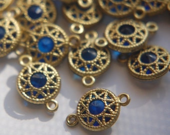 Vintage Sapphire Blue Connector Beads with Neat Brass Frames 10mm (6) chr137G
