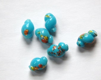 Vintage Turquoise Blue Glass Millefiori Twist Beads bds725A