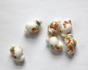 Vintage White Glass Millefiori Twist Beads bds725B