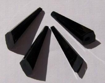 Vintage Black Faceted Angled Prism Pendants Drops Charms Dangles chr058