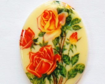 VintageYellow Orange Red Roses Cabochon 40x30mm cab746G