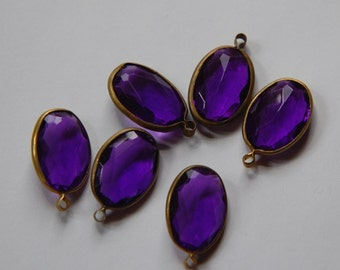 Brass Channel Set Faceted Oval Purple Acrylic Drops Charms chr161