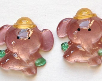 Vintage Light Purple Elephant Acrylic Cabochons cab376