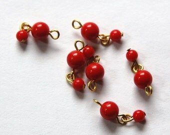 Vintage Acrylic Red Beaded Drops Japan drp020