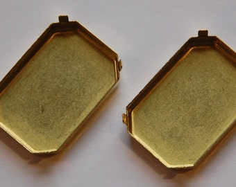 Large Raw Brass Rectangle Prong Settings No Loop (2) mtl331