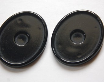 Vintage Large Black Acrylic Oval Settings stp009D