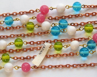 Vintage Pastel 8mm Glass Beaded Chain Japan chn018