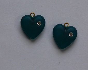 Vintage Matte Teal Heart Charm with Rhinestone chr104D