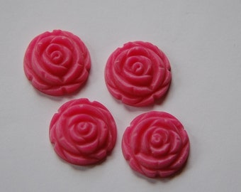 Matte Pink Etched Flower Cabochon 20mm cab466F