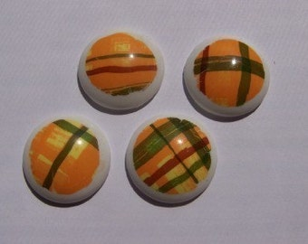 Vintage Mod Orange and Green Plaid Cabochon cab127