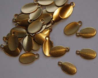1 Loop Raw Brass Oval Blank Tag Drop Charms 11mm x 6mm (16) mtl320