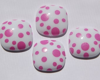 Vintage Pink and White Polka Dot Square Domed Cabochons cab404