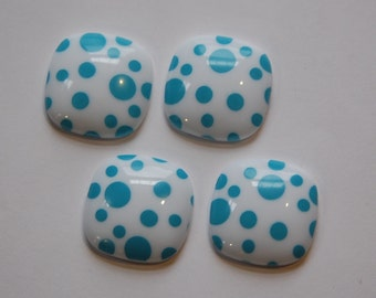 Vintage Blue and White Polka Dot Square Domed Cabochons cab404D