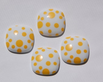 Vintage Yellow and White Polka Dot Square Domed Cabochons cab404A