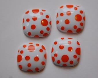 Vintage Orange and White Polka Dot Square Domed Cabochons cab404B