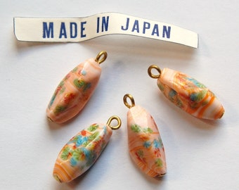 Vintage Orange Millefiori Twist Glass Bead Drops Loop Japan drp033E