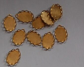 1 Loop Raw Brass Lace Edge Settings 14x10mm (8) stn004C