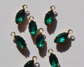 Emerald Navette Stones in One Loop Brass Setting 8mmx4mm (8) nav005B
