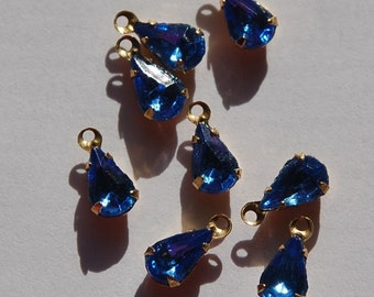 Sapphire Glass Teardrop Stones in 1 Loop Brass Setting par001D