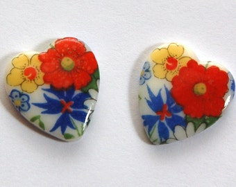 Vintage Colorful Floral Glass Heart Cabochons Japan cab609C