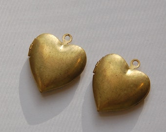 Vintage Raw Brass Heart Lockets 24mm lkt004B