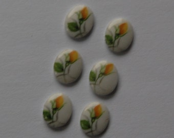 Vintage Yellow Rose Bud Glass Cabochons Japan 10mm x 8mm (6) cab421E