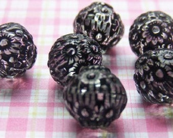 Jet Black on Crystal Etched Acrylic Beads 14mm (8) bds745G