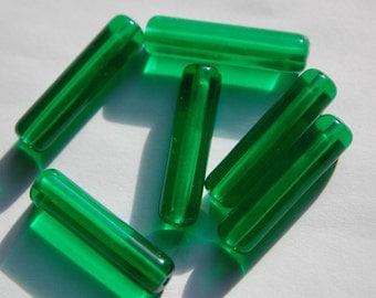 Vintage Translucent Green Plastic Tube Beads bds818C