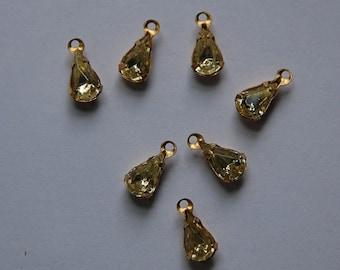 Vintage Jonquil Glass Teardrop Stones in 1 Loop Brass Setting 8mm x 4mm par001J