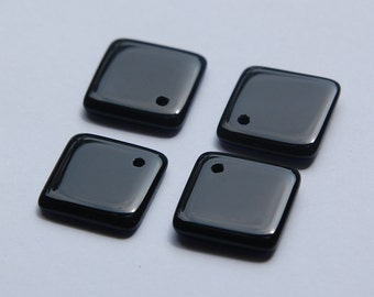 Vintage Japan Black Glass Square Drops Pendants chr096
