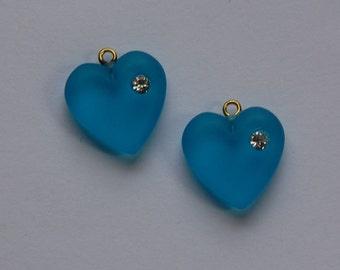 Vintage Matte Light Blue Heart Charm with Rhinestone chr104C