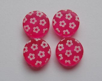 Vintage Pink Disc Beads with White Flowers bds027C