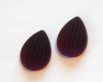 Matte Amethyst Ribbed Melon Glass Pear Cabochons 18mm x 13mm cab450A