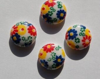 Vintage Primary Colors Floral Glass Cabochons 15mm cab284E