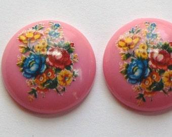 Vintage Pink Floral Domed Cabochons 24mm (2) cab760E