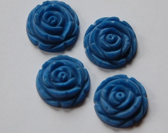 Matte Blue Etched Flower Cabochon 20mm cab466J