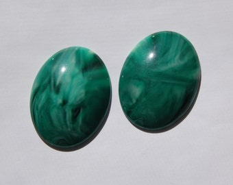 Vintage Green Swirled Domed Cabochon 40mm x 30mm cab472E
